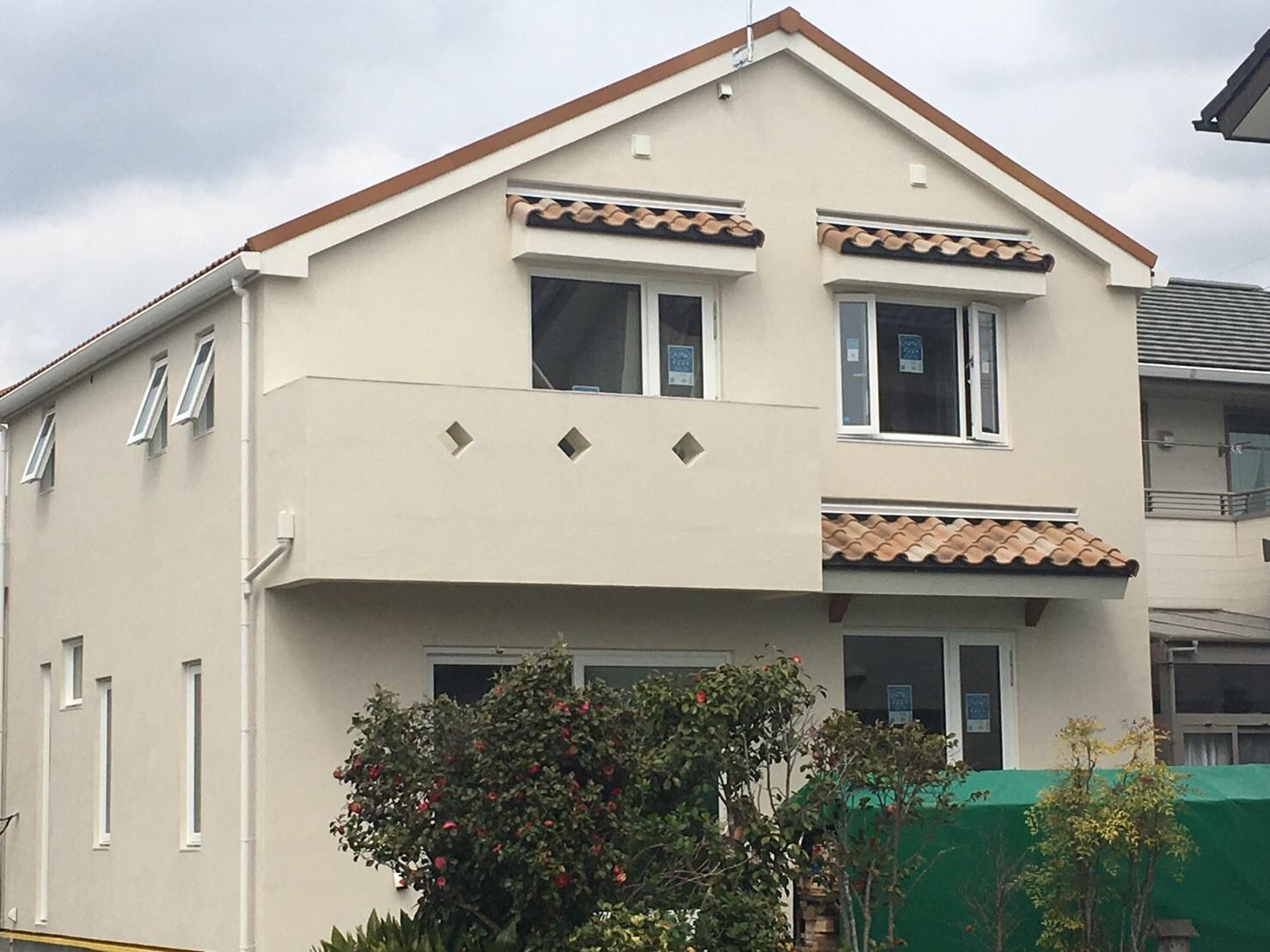 南欧風のかわいい家、気密性、断熱性が高いお宅