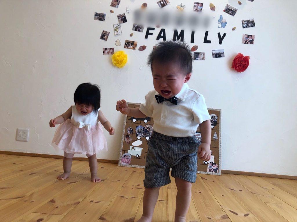 一人歩きできるまで成長した双子の子供