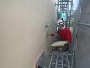 外壁塗り壁材セレクトリフレックス仕上げ工事中1