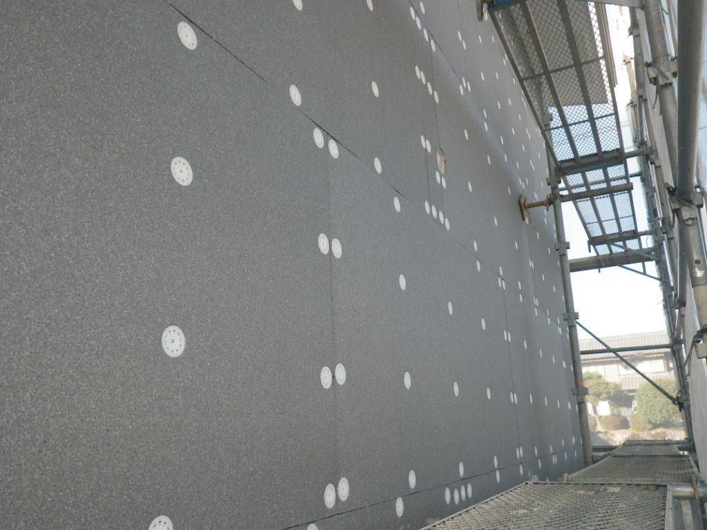外断熱パネル材ネオポールの施工