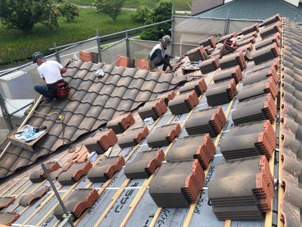 屋根工事 陶器瓦