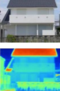 サーモグラフィによる外壁温度比較 セレクトリフレックス