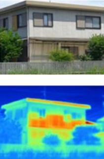 サーモグラフィによる外壁温度比較 サイディング