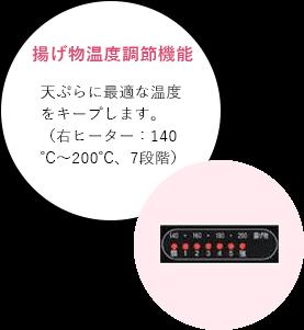 揚げ物温度調節機能 天ぷらに最適な温度をキープします。(右ヒーター:140℃~200℃、7段階)