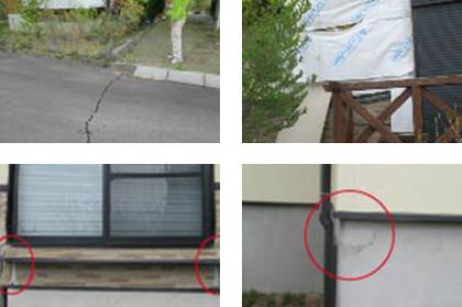 すぐ近くの家・道路では液状化や家屋の一部に被害が見られました。