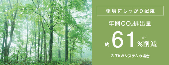 環境にしっかり配慮 年間CO<sub>2</sub>排出量約61%削減 3.7kWシステムの場合