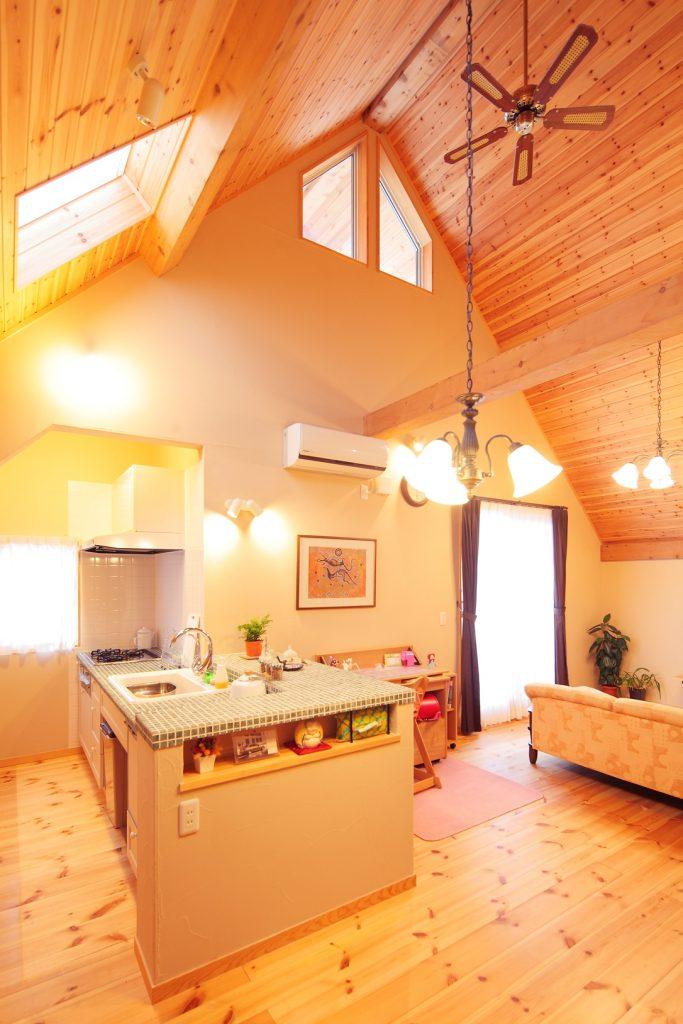ダイナミックな吹き抜け空間で、圧倒的な存在感を放つキッチン。