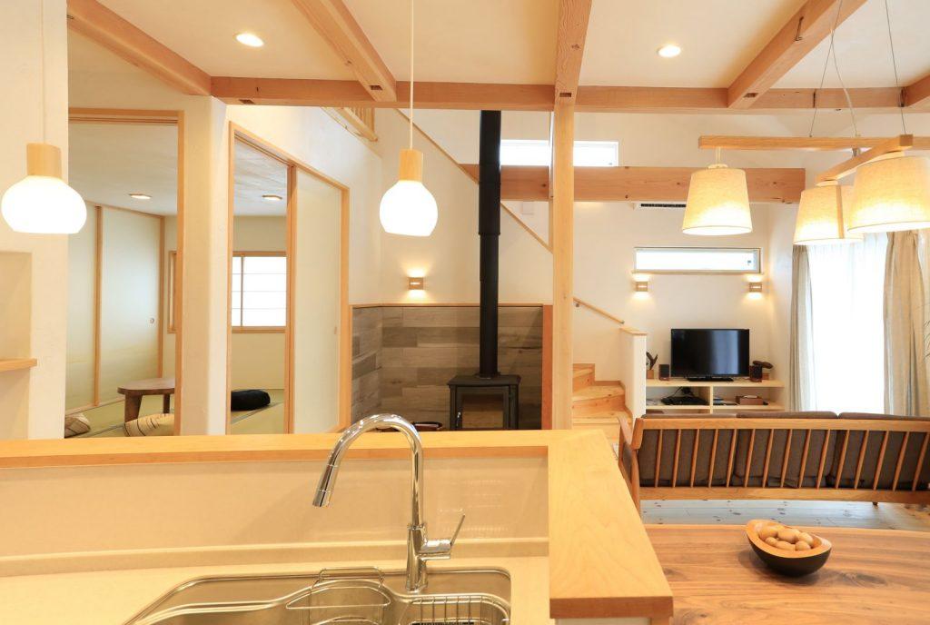 キッチンから階段が見えるように…というのもO様のこだわり