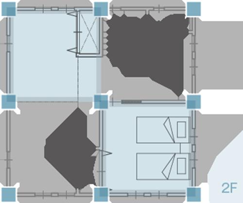 4坪(8.0帖)×4ブロックで構成した場合