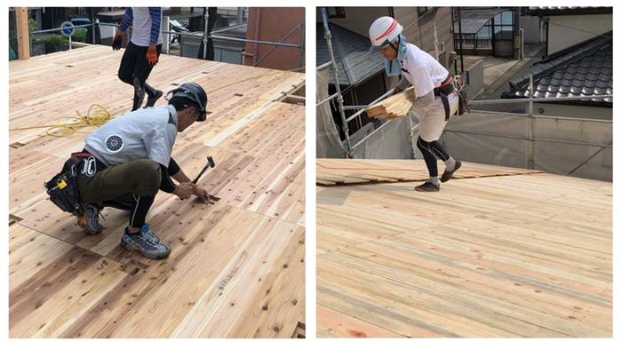 床の裏側や屋根の裏側に設置する下地材にも無垢材を採用