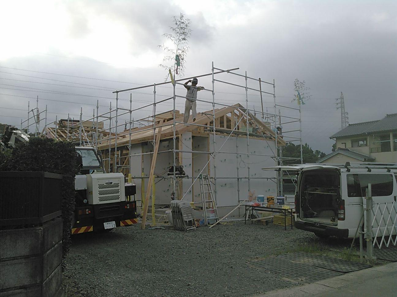 豊川市平屋建て住宅の上棟 耐震耐火パネル設置