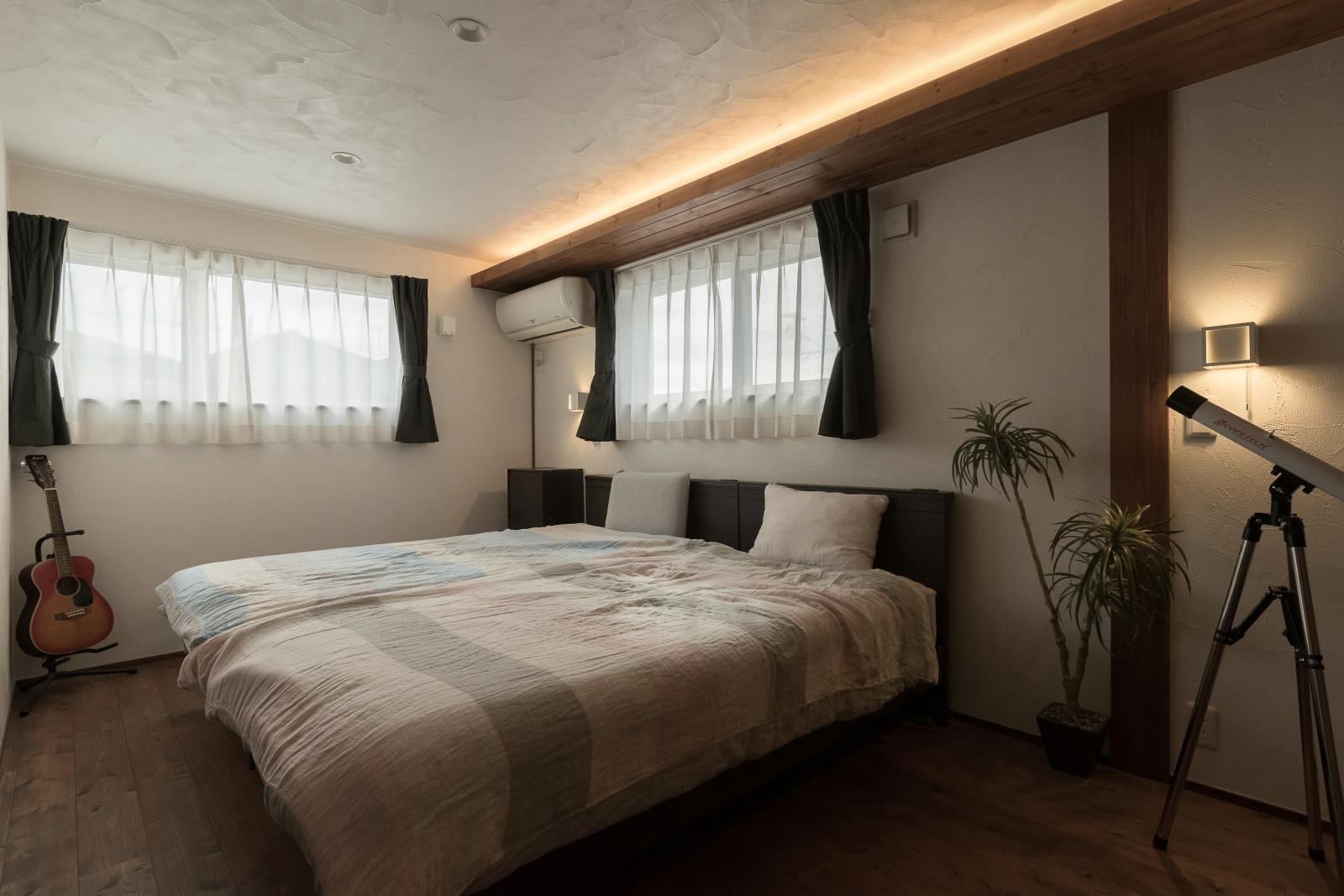 よく眠れる!程よい照明の寝室