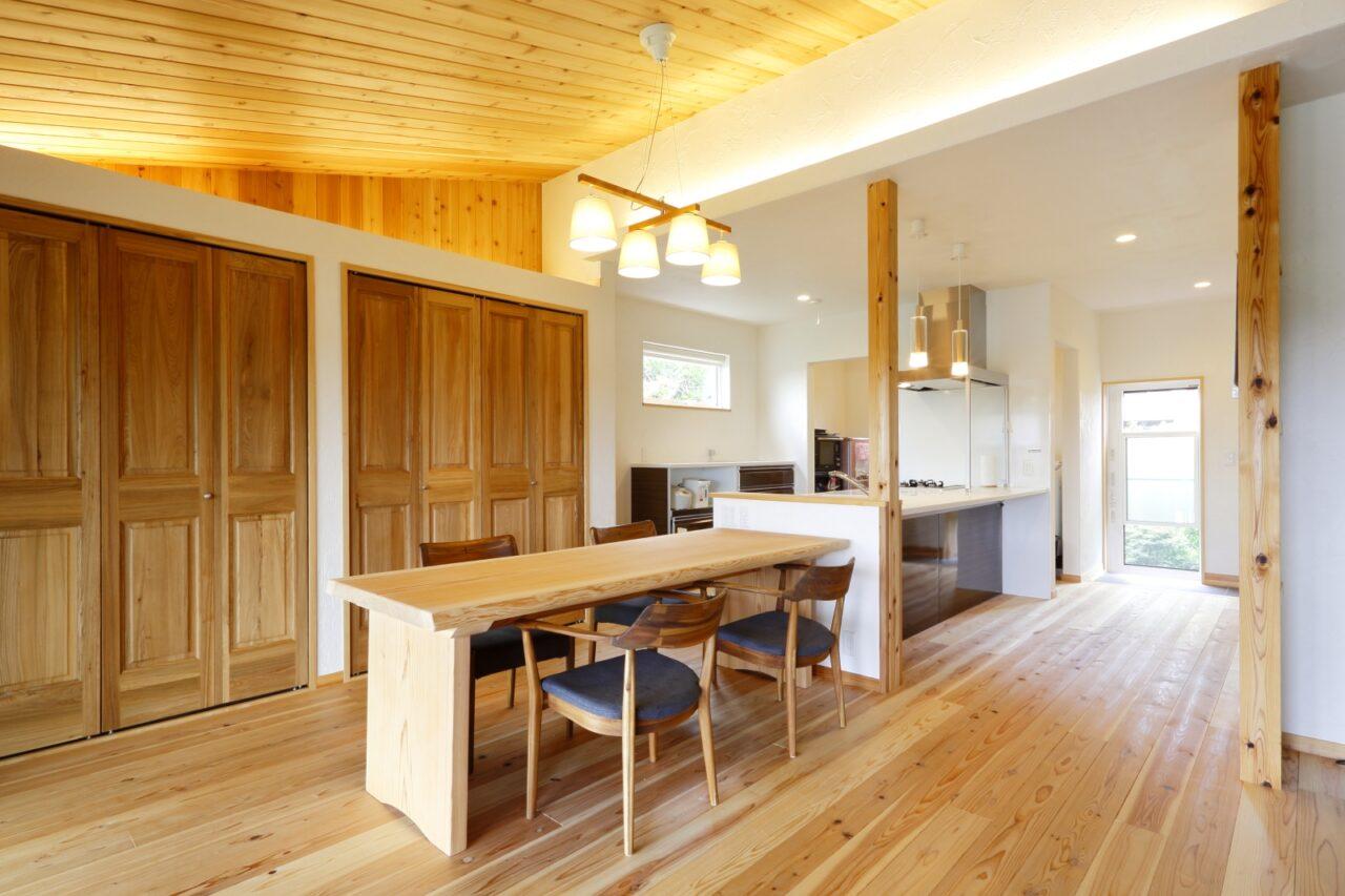 キッチンを囲むようにダイニング・ランドリールーム・クローゼットを配置し、炊事・洗濯・収納が効率よく行え家事ラクを実現