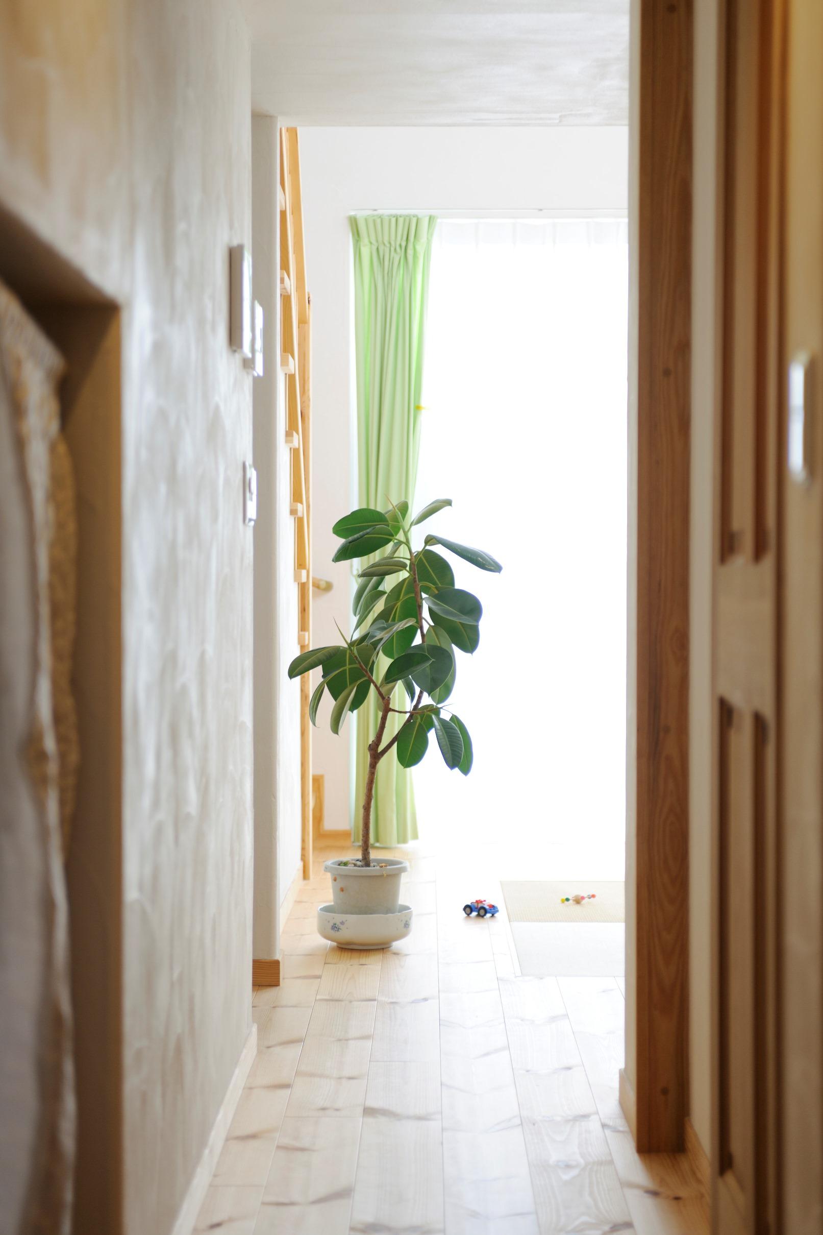 回遊動線の一部として、2つの階段と全ての部屋を繋いでくれる 機能的な廊下
