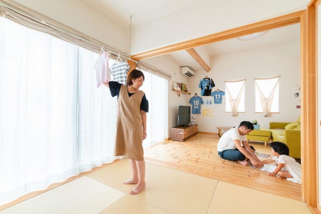 室内干しもできるマルチな和室