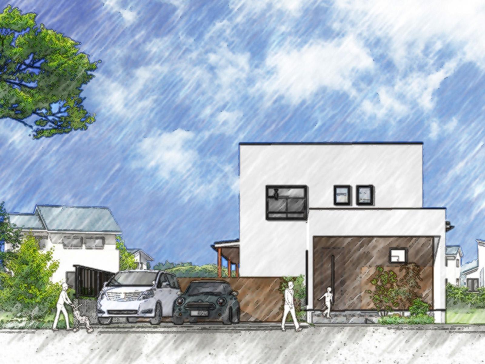 新築住宅見学会建物外観パース