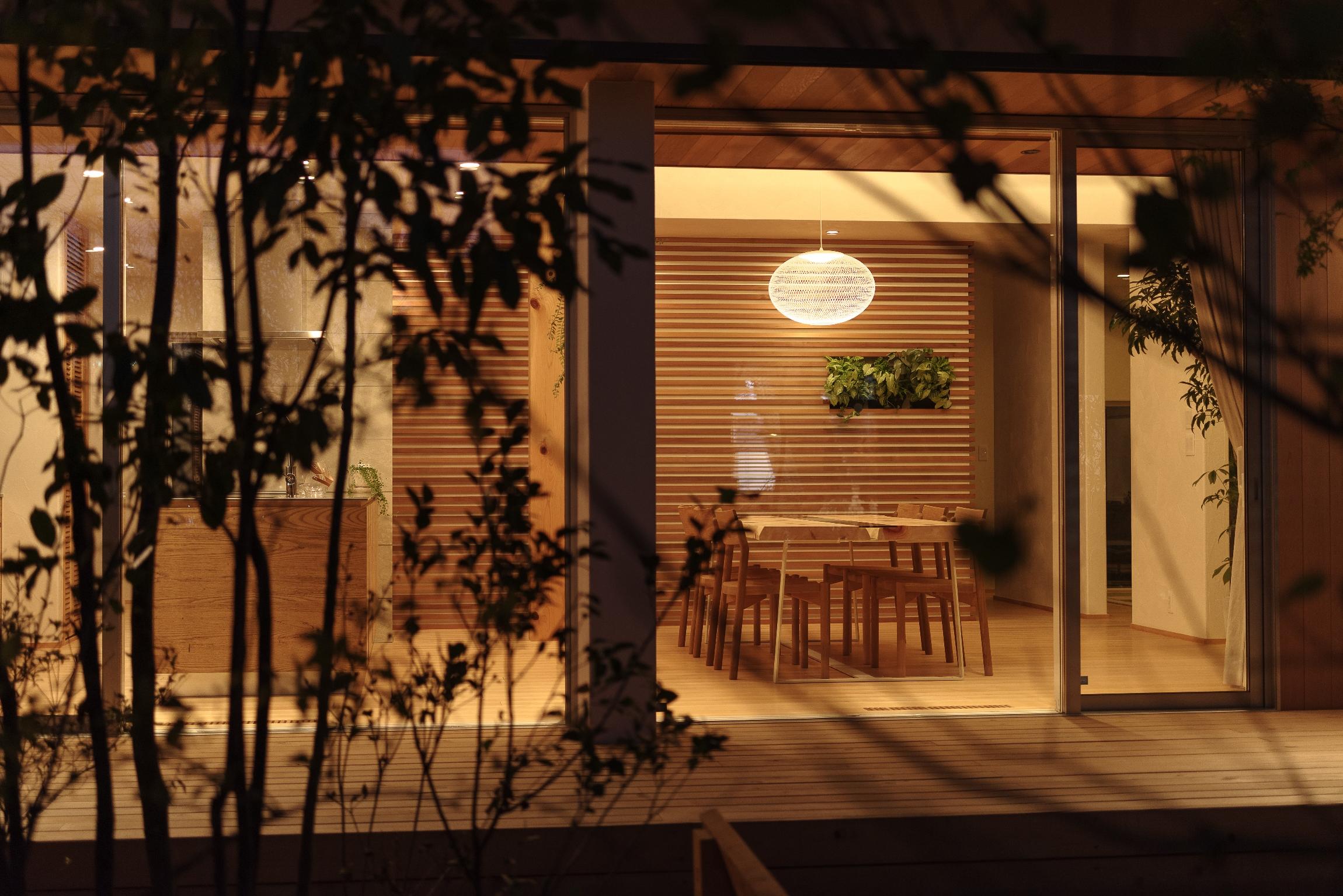 コンセプトハウスを中庭から写真をとったところ、夜も良い体感ができますように。