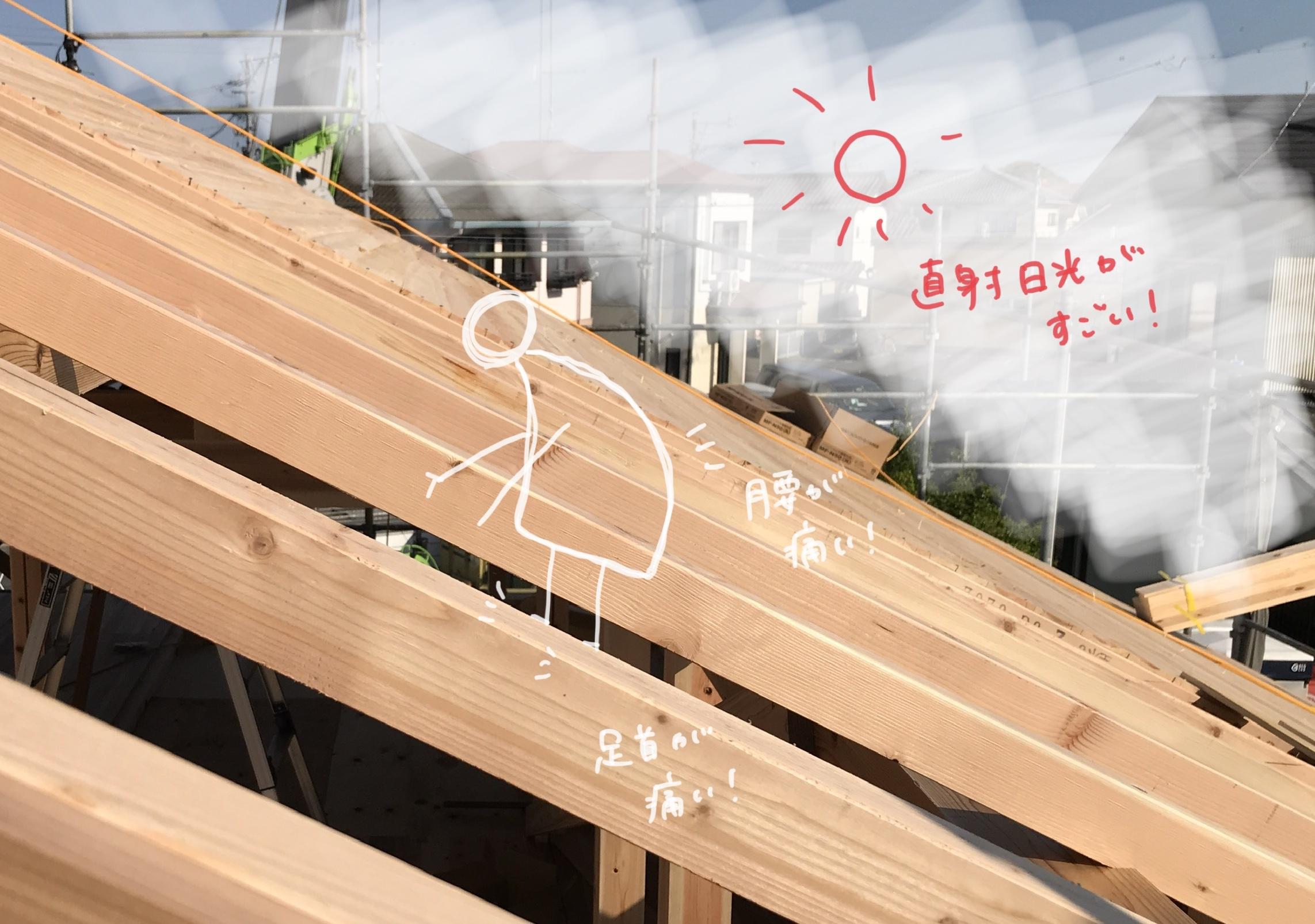 屋根の上の大工さん イラスト