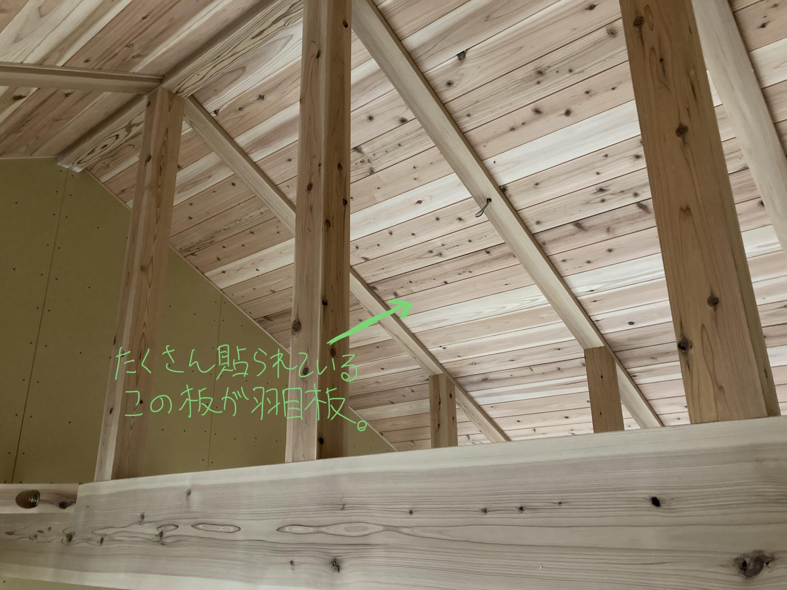 傾斜天井に貼られた羽目板