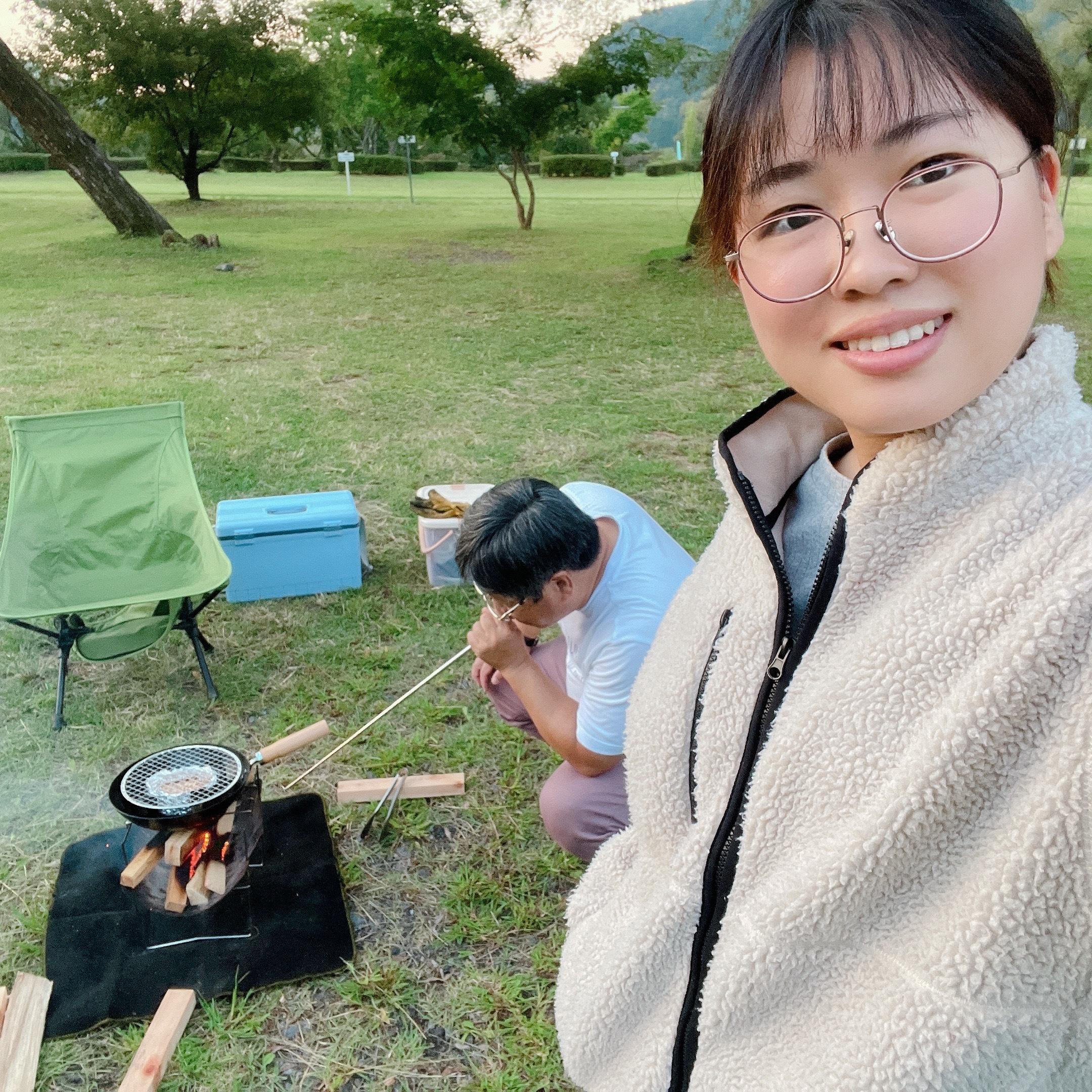 父とキャンプの様子